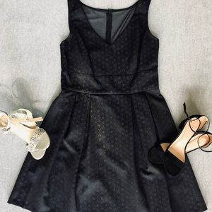 American Living Blk Circle Jacquard Pleated Dress